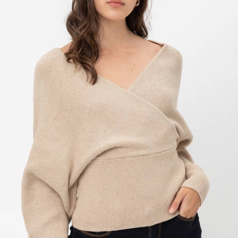 Pink Liberty Boutique The Sophisticate Wrap Knit Sweater with Dolman Sleeves Oatmeal