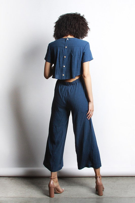 Abby Navy Cropped Jumpsuit