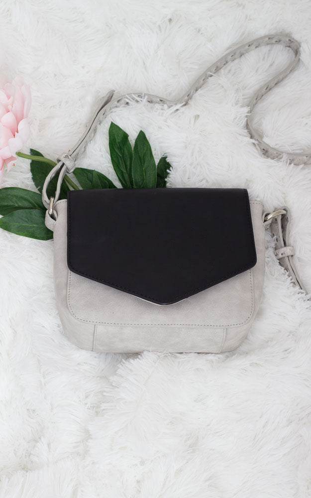 Mimi Vegan Leather Double Flap Crossbody Black/Grey