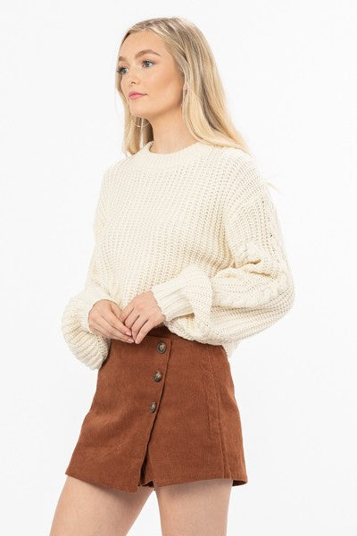 Carry On Knit Sweater Top with Bubble Sleeves