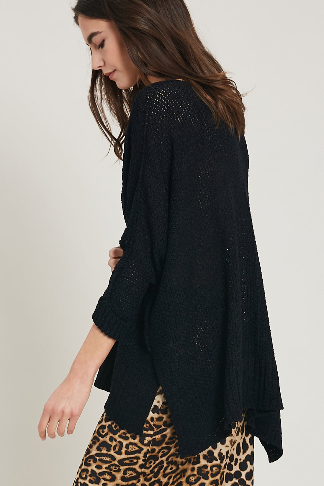 Touché Textured V-Neck Knit Tunic Sweater