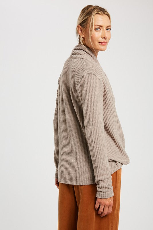 Cozy Moments Cross-Front Waffle Knit Sweater