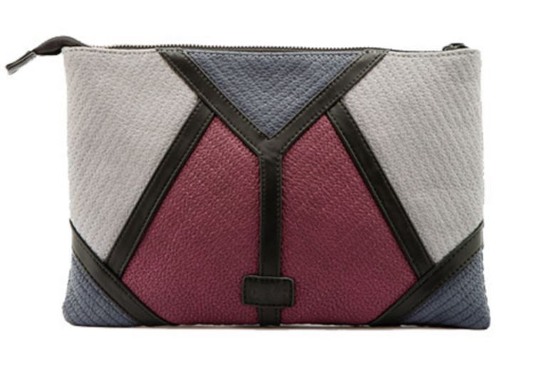Geo Patchwork Envelope Clutch Berry