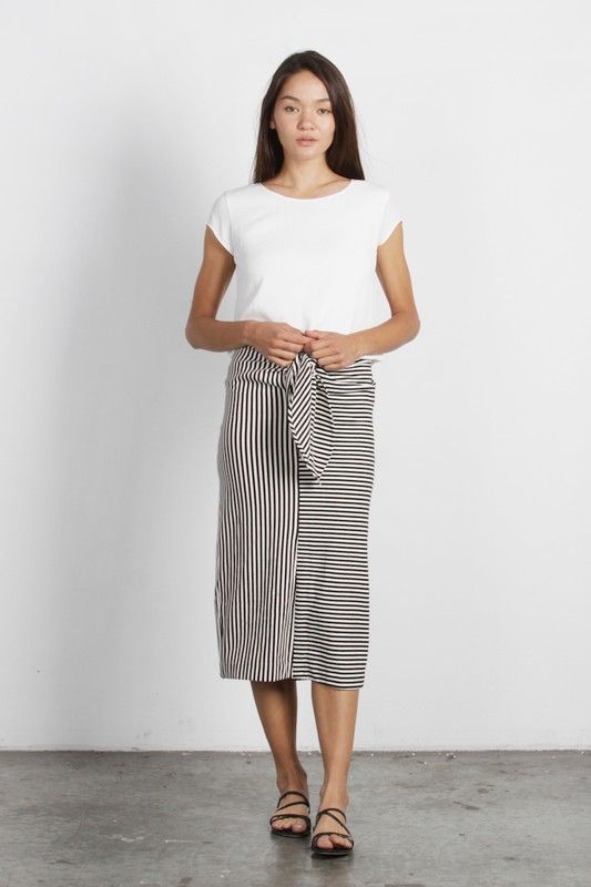 Striped Midi Length Pencil Skirt with Tie-Front Detail