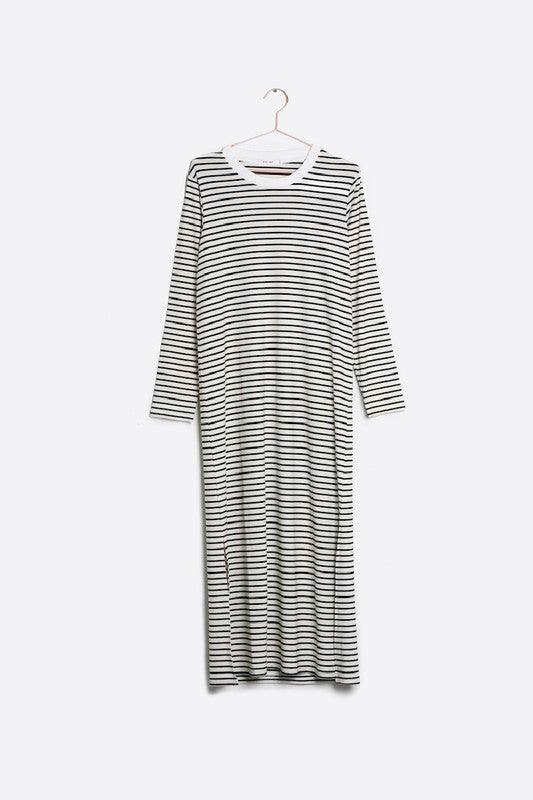 Pink Liberty Jaya Long Sleeve Crew Neck Black and White Striped Maxi Dress