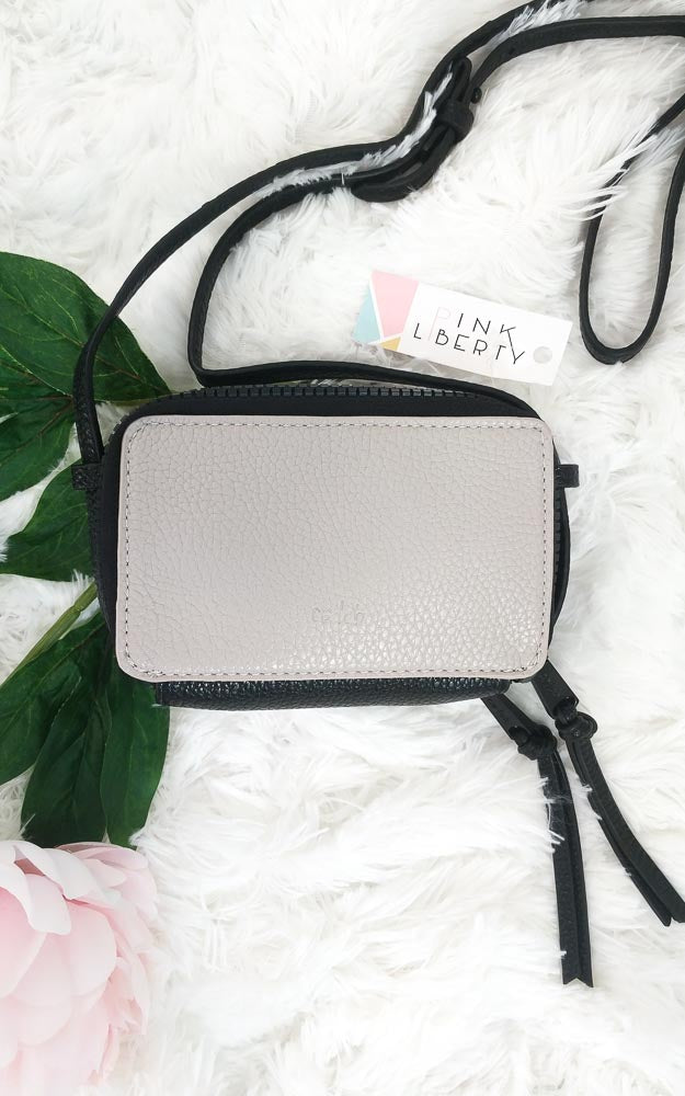 Two-Tone Crossbody Wallet Grey