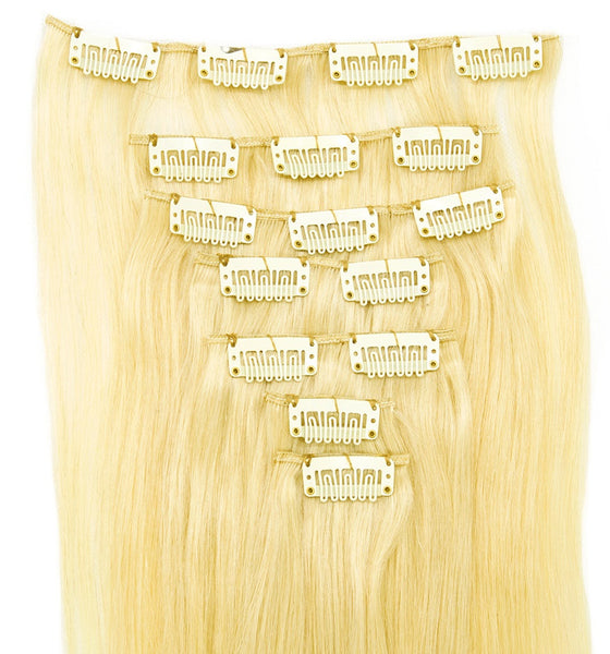 Bleach Blonde Clip-in Hair Extensions 7 Pcs Set