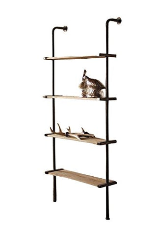 Tall Wood And Metal Wall Shelving Unit - Les Spectacles French Industrial