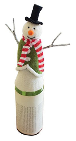 Felt Snowman Wine Topper With Stick Arms - Les Spectacles French Industrial