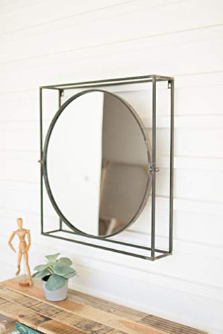 Round Mirror In A Square Metal Frame - Les Spectacles French Industrial