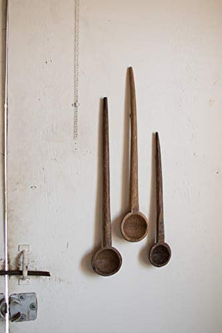 Set Of Three Large Wooden Spoon Wall Art - Les Spectacles French Industrial