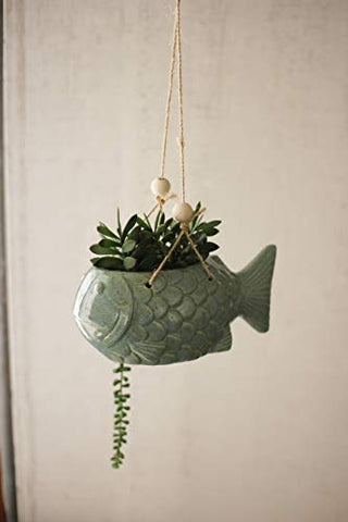 Hanging Ceramic Fish pot - Blue - Les Spectacles French Industrial