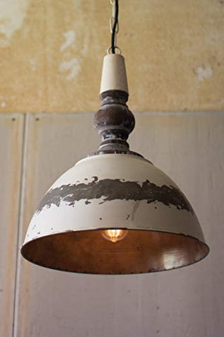 Antique Buttermilk Metal Pendant Light - Les Spectacles French Industrial