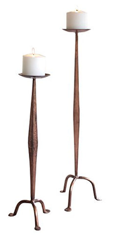 Set Of Two Antique Copper Candle Stands - Les Spectacles French Industrial