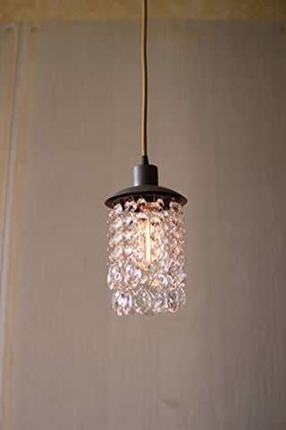 Metal Swag Light With Hanging Gems - Les Spectacles French Industrial
