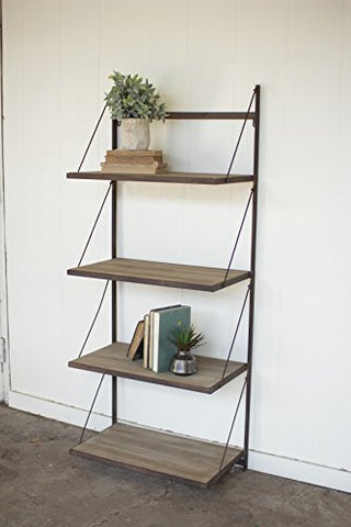 Metal And Wood Display Rack With Folding Shelves - Les Spectacles French Industrial