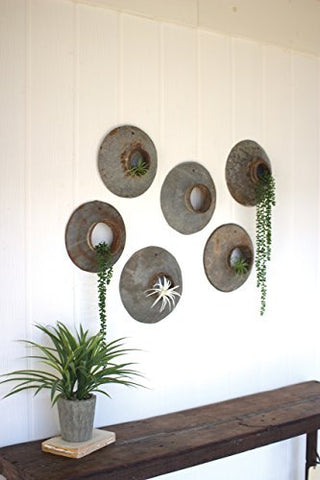Set Of Six Repurposed Metal Wall Hangings - Les Spectacles French Industrial
