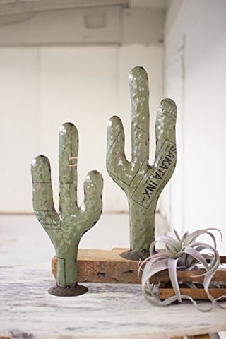 Set Of Two Recycled Metal Cacti - Les Spectacles French Industrial