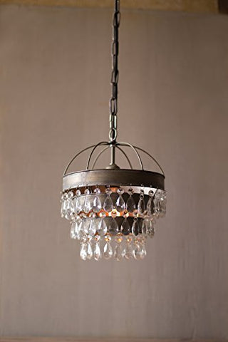 Pendant Lamp With Layered Shade And Hanging Gems - Les Spectacles French Industrial