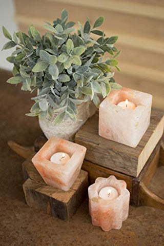 Set Of Three Himalayan Salt Tea Light Holders - One Each - Les Spectacles French Industrial