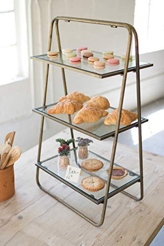 Three Tiered Metal Display With Glass Shelves - Les Spectacles French Industrial