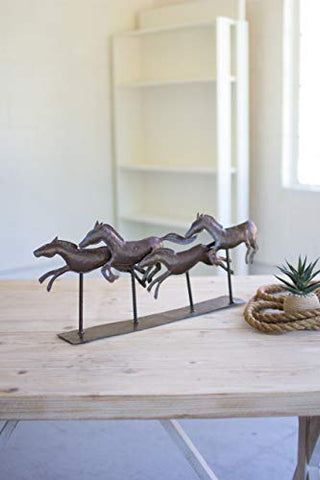 Rustic Hammered Metal Running Horses On Base - Les Spectacles French Industrial