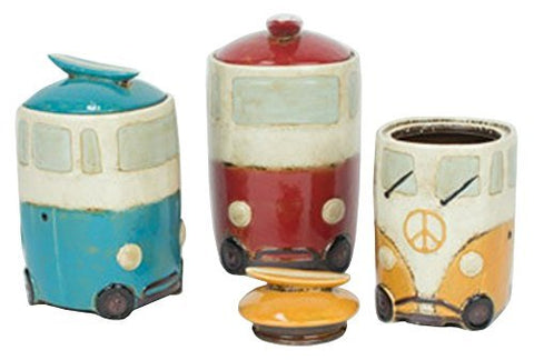 Set Of Three Ceramic Van Canisters With Surfboard Handles - Les Spectacles French Industrial