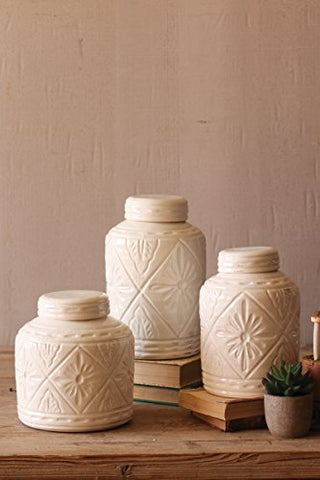 Set Of 3 Ivory Ceramic Canisters W Geometric Pattern