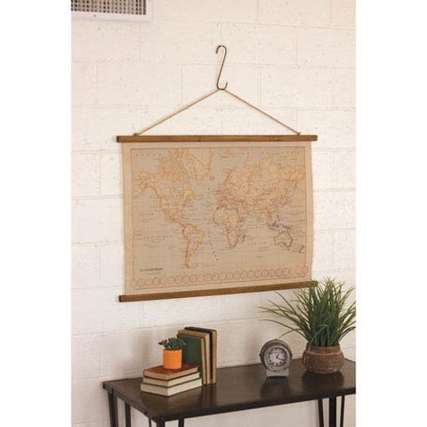 Canvas Printed World Map With Wooden Detail - Les Spectacles French Industrial