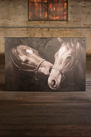 Oil Painting Black And White Kissing Horses - Les Spectacles French Industrial