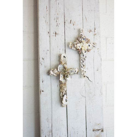 Set Of Two Oyster Shell Crosses