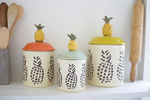 Set Of Three Ceramic Pineapple Canisters - Les Spectacles French Industrial