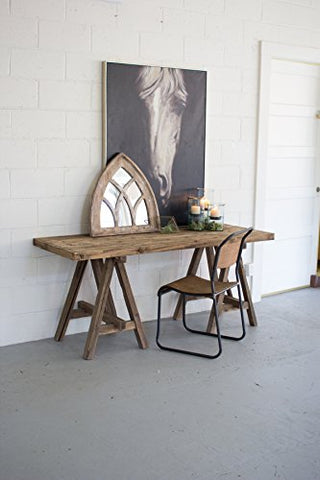 Recycled Wooden Deep Console With Saw Horse Base - Les Spectacles French Industrial