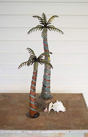 Set Of Two Recycled Iron Palm Trees
