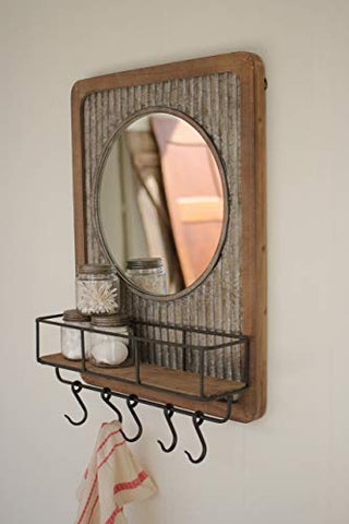 Wood Shelf And Round Mirror With Corrugated Metal Detail - Les Spectacles French Industrial