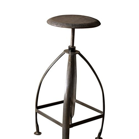Metal Stool With Adjustable Top - Raw Top W Raw Base - Les Spectacles French Industrial