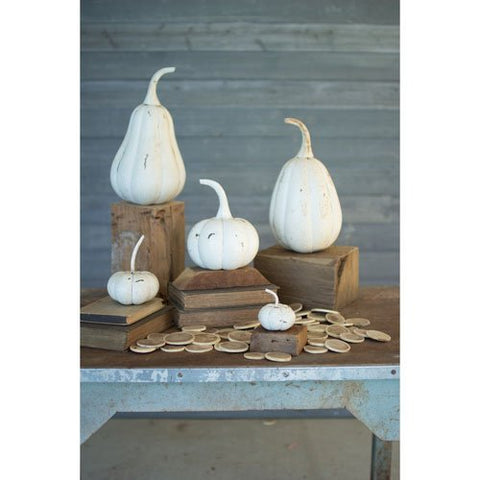 Set Of Five Recycled Iron Pumpkins - Distressed White - Les Spectacles French Industrial