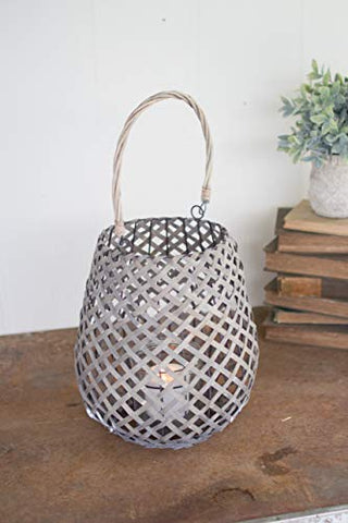 Grey Willow Lantern With Wire Frame And Glass - Large - Les Spectacles French Industrial