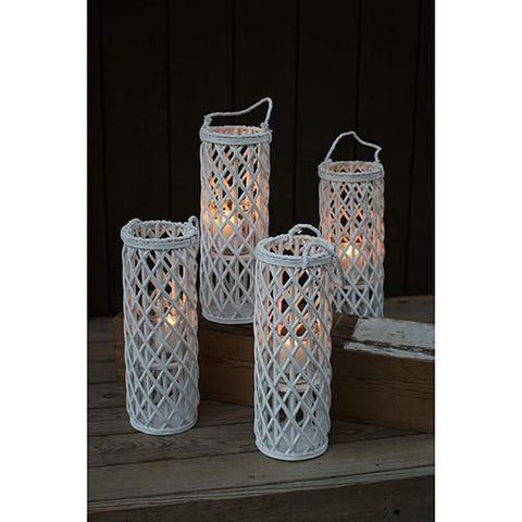 Tall White Willow Lantern With Glass Insert - Les Spectacles French Industrial