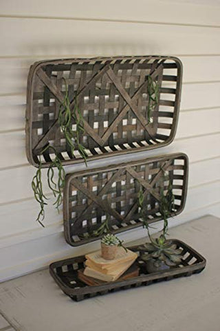 Set Of Three Chipwood Rectangle Wall Baskets - Les Spectacles French Industrial