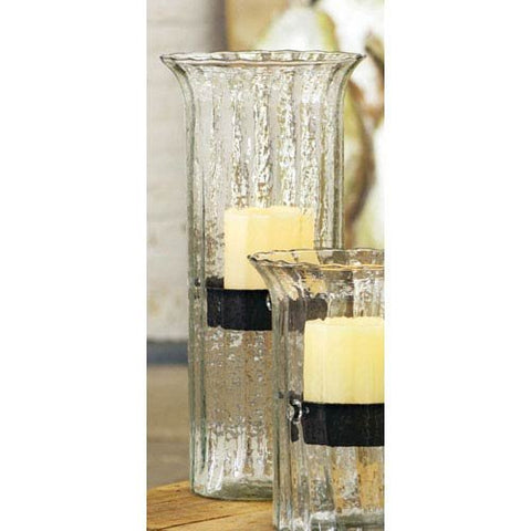 Ribbed Glass Candle Cylinder W Rustic Insert - Large - Les Spectacles French Industrial