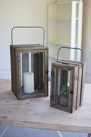 Set Of Two Wood Frame Lanterns W Glass Front & Iron Handles - Les Spectacles French Industrial
