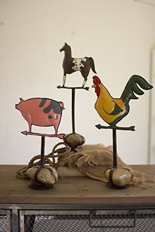 S/3 Painted Metal Barn Animals W/ Caged Rock Base - Les Spectacles French Industrial