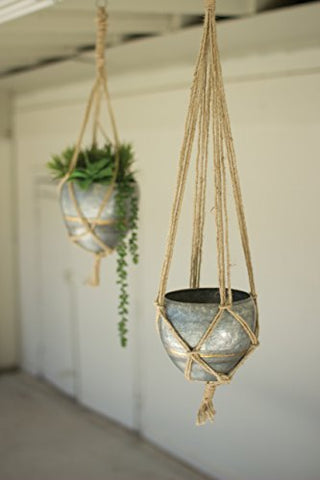 Set Of Two Hanging Galvanized pots With Woven Jute Rope - Les Spectacles French Industrial