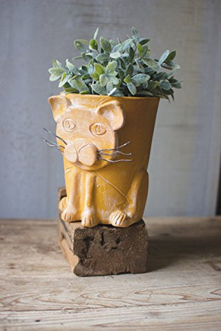 Yellow Clay Cat pot - Les Spectacles French Industrial