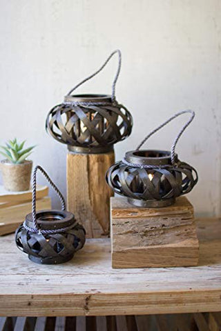 Set Of Three Chipwood Lanterns With Glass - Dark Brown - Les Spectacles French Industrial