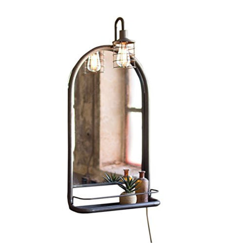 Wall Mirror With Shelf And Light - Les Spectacles French Industrial