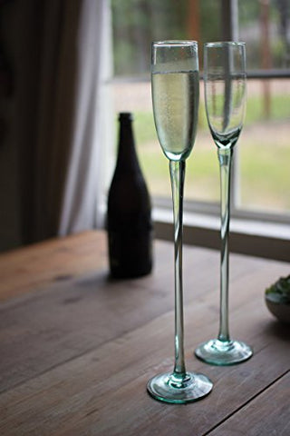 Recycled Glass Champagne Flute - Sky High - Les Spectacles French Industrial