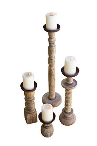 Set Of Four Recycled Turned Wood Candle Holders - Les Spectacles French Industrial