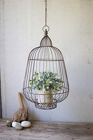 Hanging Rustic Wire Bird Cage succulent Holder - Les Spectacles French Industrial
